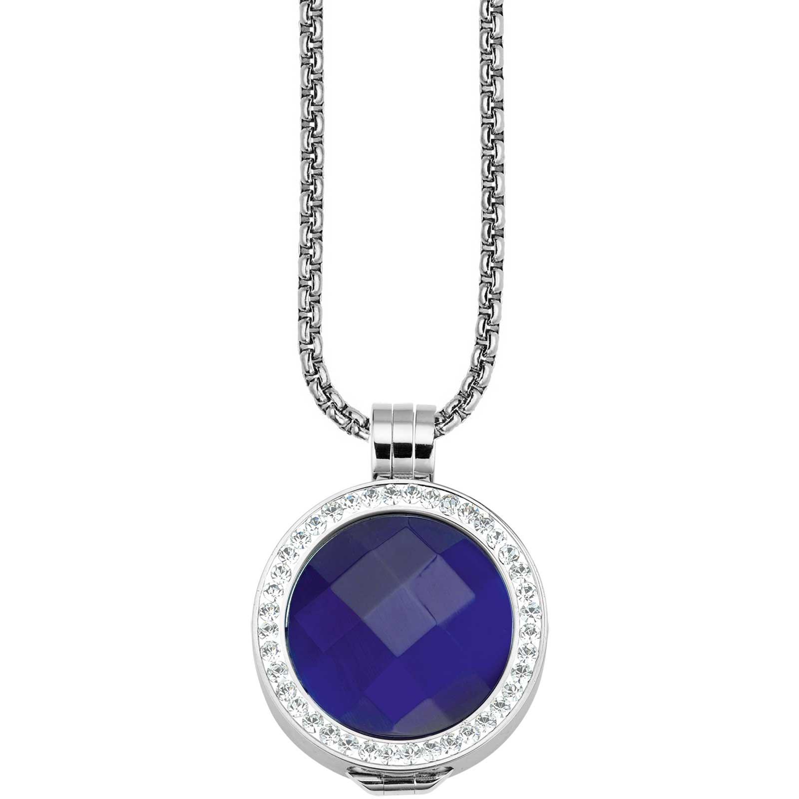 CS004_Coin-Fassung_Edelstahl_ohne_Kristalle_mit_Coin_CS197_CS198_Coin_blau_Kette_1