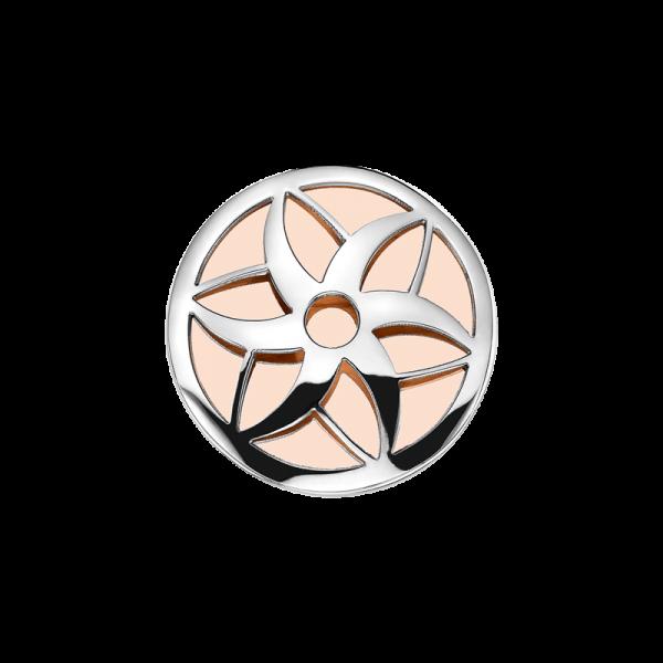 Coin Edelstahl Blüte rosé 25mm CS253