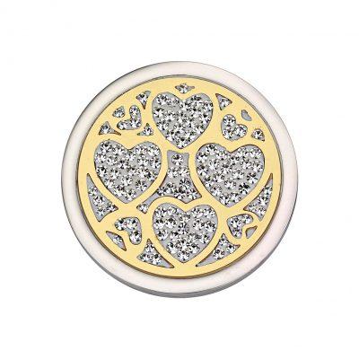 CEM Coin Herzen mit Kristallen CS294