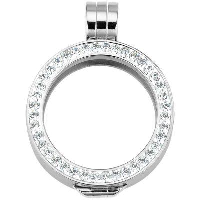 Coin Fassung mit Kristallen einreihig 33mm