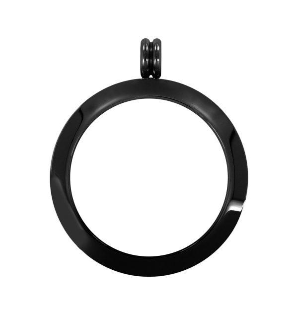 Fassung Edelstahl poliert schwarz 33mm L0147