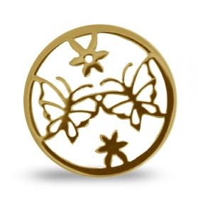 DUO Lockits vergoldet Motiv Schmetterling Edelstahl L0448