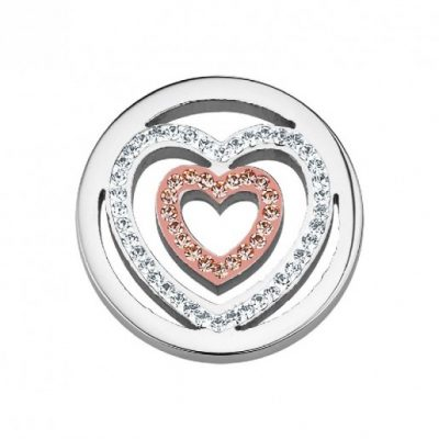 CS128 CEM Coin Element zwei Herzen mit Kristallen