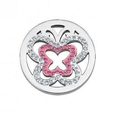 CS130 CEM Coin Element zwei Schmetterlinge mit Kristallen