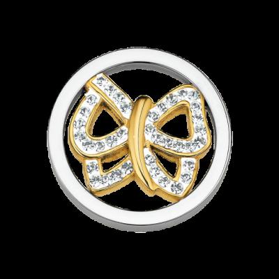 CS122 CEM Coin Element Schmetterling vergoldet mit Kristallen