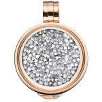 Coin mit silberfarbenen Kristallen in Roséfassung