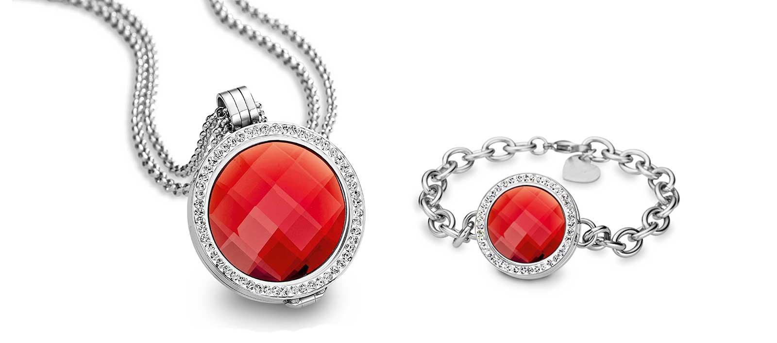 CEM Coinskette und Coins-Armband mit roten Kristallen