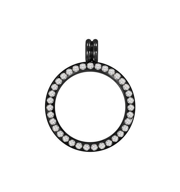 schwarze Coin-Fassung Edelstahl poliert Kristall L1129 25mm