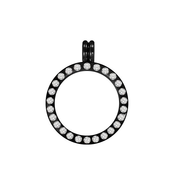 Fassung Edelstahl schwarz poliert Kristall L1130 20mm