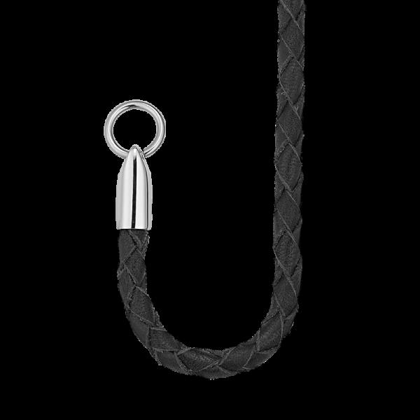 geflochtene Lederkette schwarz mit Vorderschließe